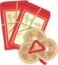 red envelope with coins
